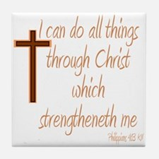 Philippians 4 13 Brown Cross Tile Coaster
