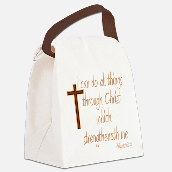 Philippians 4 13 Brown Cross Canvas Lunch Bag