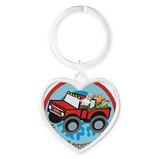 Country Santa Heart Keychain