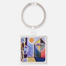 House and Home Square Keychain