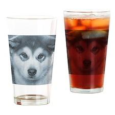 Husky Puppy face Drinking Glass
