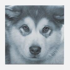 Husky Puppy face Tile Coaster