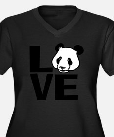 Love Panda Women's Plus Size Dark V-Neck T-Shirt