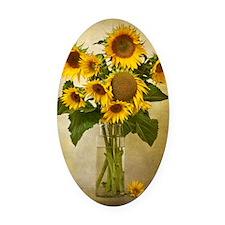 Digital composite of a vase of sun Oval Car Magnet