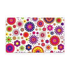 Hippie Rainbow Flower Pattern Rectangle Car Magnet