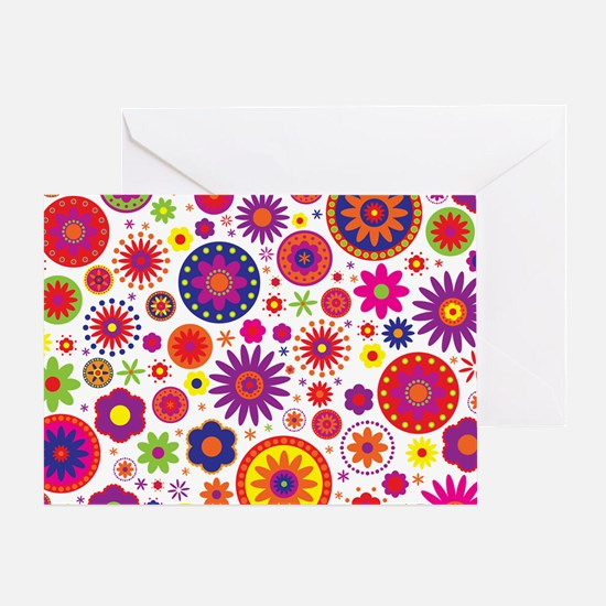 Hippie Rainbow Flower Pattern Greeting Card