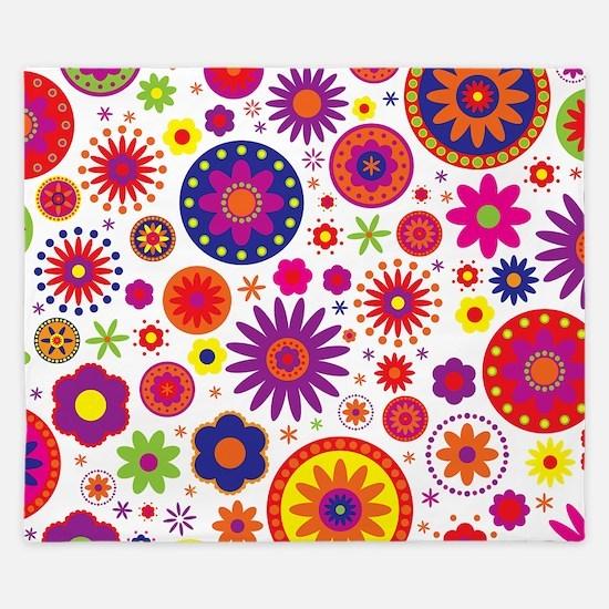 Hippie Rainbow Flower Pattern King Duvet