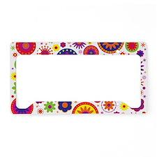 Hippie Rainbow Flower Pattern License Plate Holder