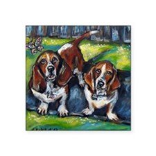 "Basset Hounds Murphy  Maddi Square Sticker 3"" x 3"""