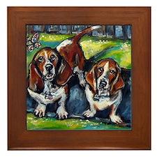 Basset Hounds Murphy  Maddie Framed Tile