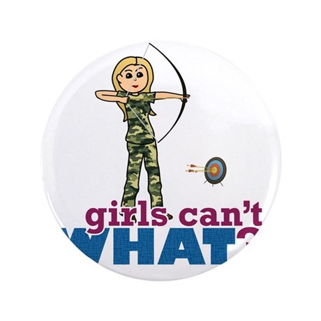 "Archery Girl in Camouflage - Blonde 3.5"" Button"