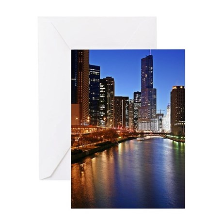 Trump Tower and River Greeting Card