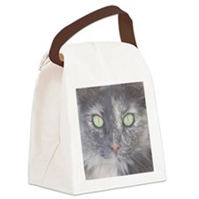 Green Eyed Kitty Face Canvas Lunch Bag