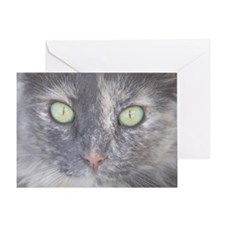 Green Eyed Kitty Face Greeting Card