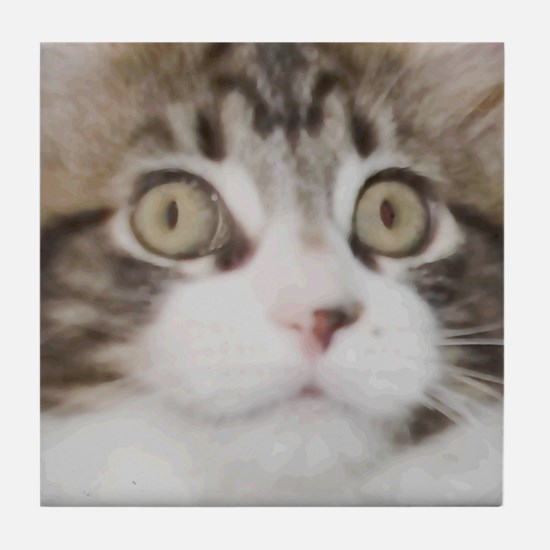 Wide-Eye Kitten Face Tile Coaster