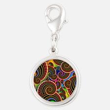 Funky Rainbow Swirl Pattern Silver Round Charm