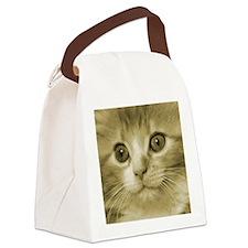 Pretty Kitten Face Canvas Lunch Bag