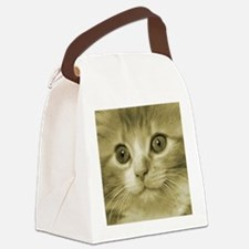 Pretty Kitten Face Canvas Lunch Bag