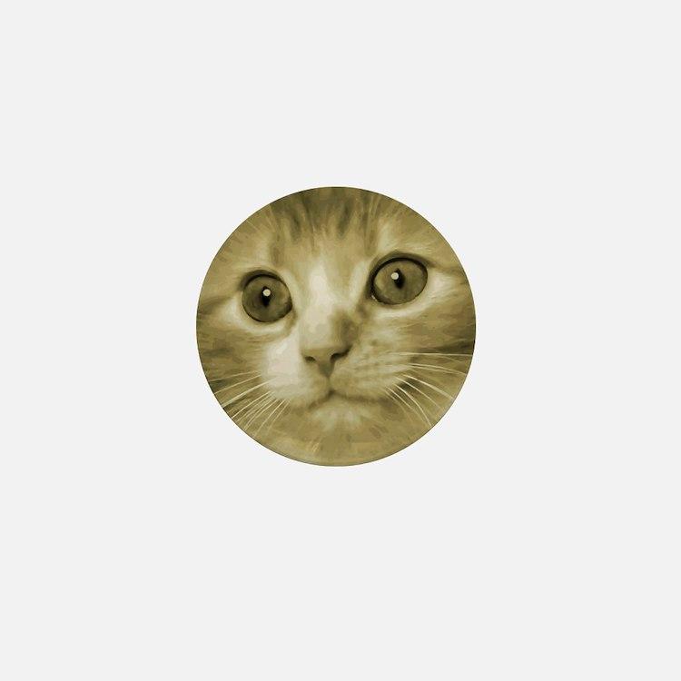 Pretty Kitten Face Mini Button