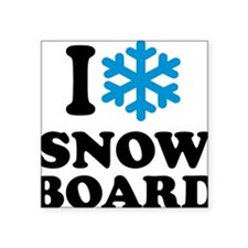 "I love Snowboard Square Sticker 3"" x 3"""