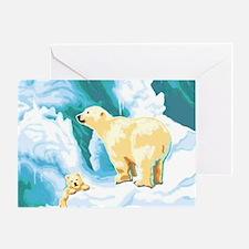 Mama Polar Bear and Cub Greeting Card