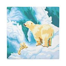 Mama Polar Bear and Cub Queen Duvet