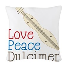 Love Peace Dulcimer Woven Throw Pillow