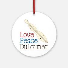 Love Peace Dulcimer Round Ornament