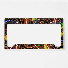 Funky Rainbow Swirl Pattern License Plate Holder