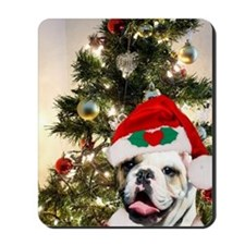 Christmas bulldog Mousepad