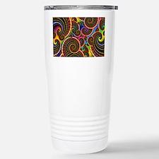 Funky Rainbow Swirl Pat Stainless Steel Travel Mug