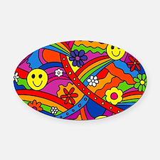 Hippie Smiley Face Rainbow and Flo Oval Car Magnet