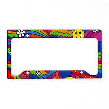 Hippie Smiley Face Rainbow an License Plate Holder