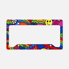 Hippie Smiley Face Rainbow an License Plate Holder
