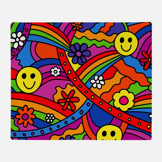 Hippie Smiley Face Rainbow and Flowe Throw Blanket