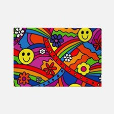 Hippie Smiley Face Rainbow and Fl Rectangle Magnet