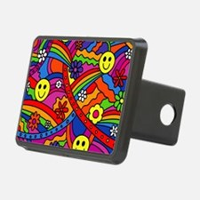 Hippie Smiley Face Rainbow Hitch Cover