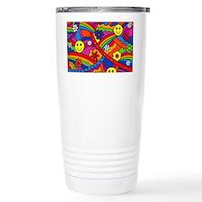 Hippie Smiley Face Rain Travel Mug