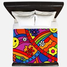 Hippie Smiley Face Rainbow and Flowers  King Duvet