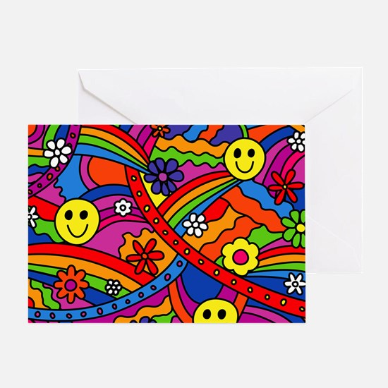 Hippie Smiley Face Rainbow and Flowe Greeting Card