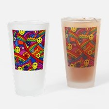 Hippie Smiley Face Rainbow and Flow Drinking Glass