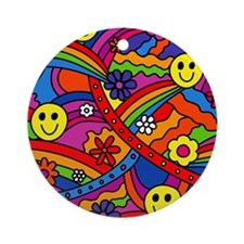 Hippie Smiley Face Rainbow and Flow Round Ornament