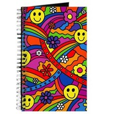 Hippie Smiley Face Rainbow and Flowers Pat Journal