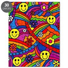 Hippie Smiley Face Rainbow and Flowers Patt Puzzle