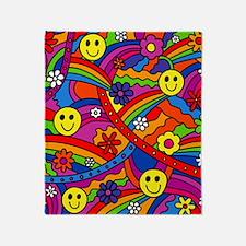 Hippie Smiley Face Rainbow and Flowe Throw Blanket