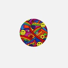 Hippie Smiley Face Rainbow and Flowers Mini Button