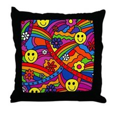 Hippie Smiley Face Rainbow and Flower Throw Pillow