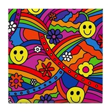 Hippie Smiley Face Rainbow and Flower Tile Coaster