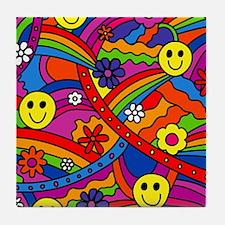 Hippie Smiley Face Rainbow and Flower Tile Coaster