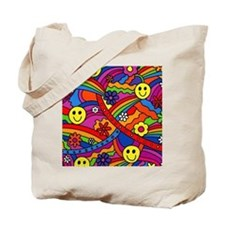 Hippie Smiley Face Rainbow and Flowers Pa Tote Bag